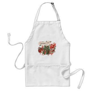 Vintage Christmas Santa Claus and Dancing Children Standard Apron