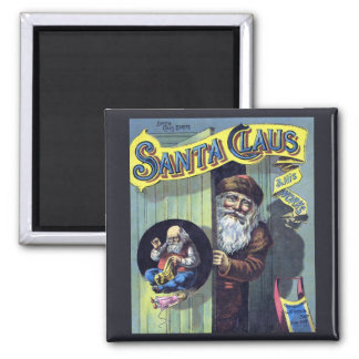 Vintage Christmas, Santa Claus and His Works Square Magnet