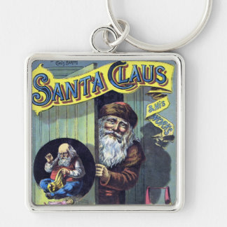 Vintage Christmas, Santa Claus and His Works Silver-Colored Square Key Ring