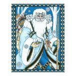 Vintage Christmas, Santa Claus Blue Snowglobe