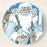 Vintage Christmas, Santa Claus Blue Snowglobe Coasters