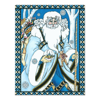 "Vintage Christmas, Santa Claus Blue Snowglobe 4.25"" X 5.5"" Invitation Card"