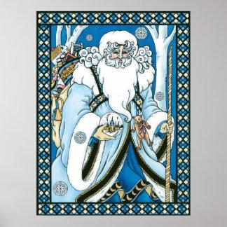 Vintage Christmas, Santa Claus Blue Snowglobe Poster