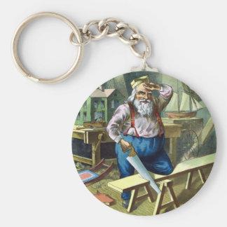 Vintage Christmas, Santa Claus Building Toys Basic Round Button Key Ring