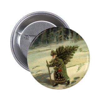 Vintage Christmas, Santa Claus Carrying a Tree 6 Cm Round Badge