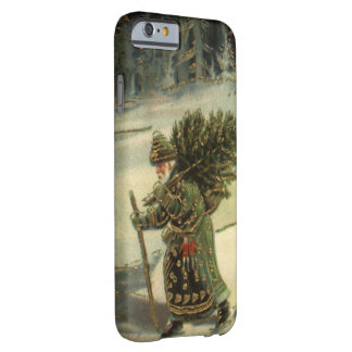 Vintage Christmas, Santa Claus Carrying a Tree Barely There iPhone 6 Case