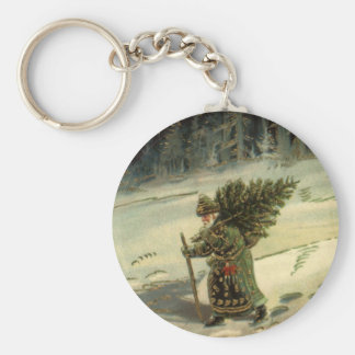 Vintage Christmas, Santa Claus Carrying a Tree Basic Round Button Key Ring