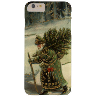 Vintage Christmas, Santa Claus Carrying a Tree Barely There iPhone 6 Plus Case