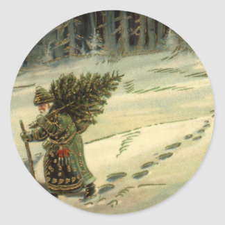 Vintage Christmas, Santa Claus Carrying a Tree Classic Round Sticker