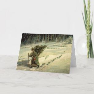 Vintage Christmas, Santa Claus Carrying a Tree Holiday Card