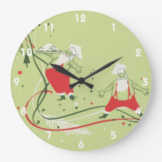 Vintage Christmas, Santa Claus Chef with Dinner Large Clock