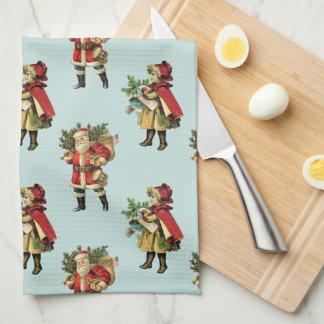 Vintage Christmas Santa Claus Cute Girl Blue Tea Towel