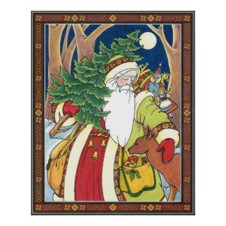 Vintage Christmas, Santa Claus Deer in Forest Posters