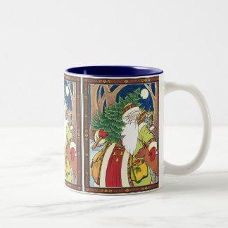 Vintage Christmas, Santa Claus Deer in Forest Two-Tone Coffee Mug