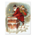 Vintage Christmas Santa Claus Down Chimney Invite