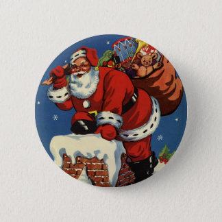 Vintage Christmas, Santa Claus Down Chimney w Toys 6 Cm Round Badge