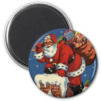 Vintage Christmas, Santa Claus Down Chimney w Toys 6 Cm Round Magnet