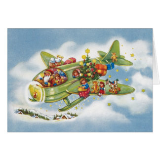 Vintage Christmas, Santa Claus Flying an Airplane Greeting Card