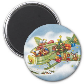 Vintage Christmas, Santa Claus Flying an Airplane 2 Inch Round Magnet