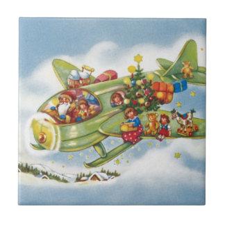 Vintage Christmas, Santa Claus Flying an Airplane Tile