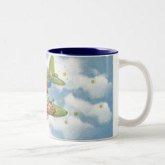 Vintage Christmas, Santa Claus Flying an Airplane Two-Tone Coffee Mug