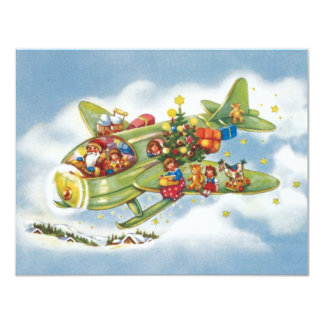Vintage Christmas, Santa Claus Flying His Airplane Personalized Invite