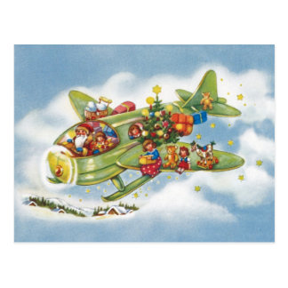 Vintage Christmas, Santa Claus Flying His Airplane Postcard