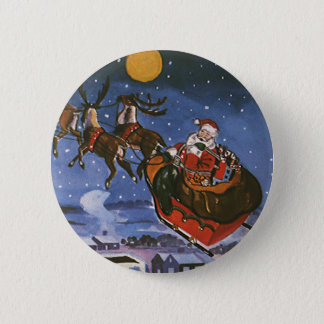 Vintage Christmas Santa Claus Flying His Sleigh 6 Cm Round Badge