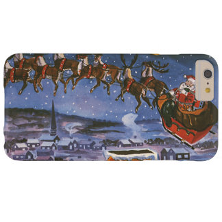 Vintage Christmas Santa Claus Flying His Sleigh Barely There iPhone 6 Plus Case