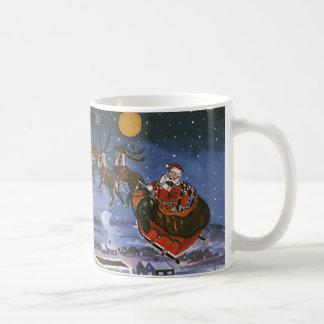 Vintage Christmas Santa Claus Flying His Sleigh Coffee Mug