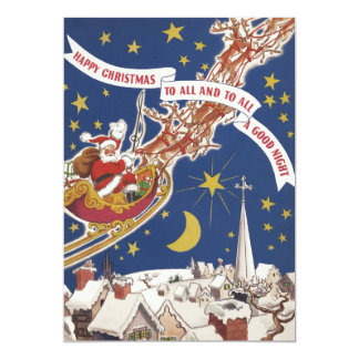 Vintage Christmas, Santa Claus Flying His Sleigh Personalized Announcement