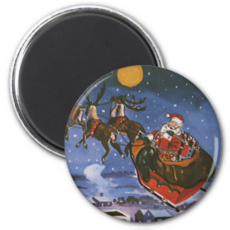Vintage Christmas Santa Claus Flying His Sleigh Magnet