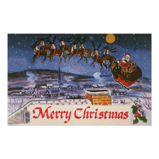 Vintage Christmas Santa Claus Flying His Sleigh Poster