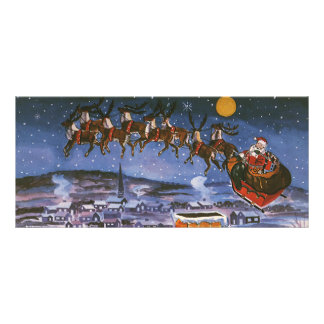 Vintage Christmas Santa Claus Flying His Sleigh Rack Cards