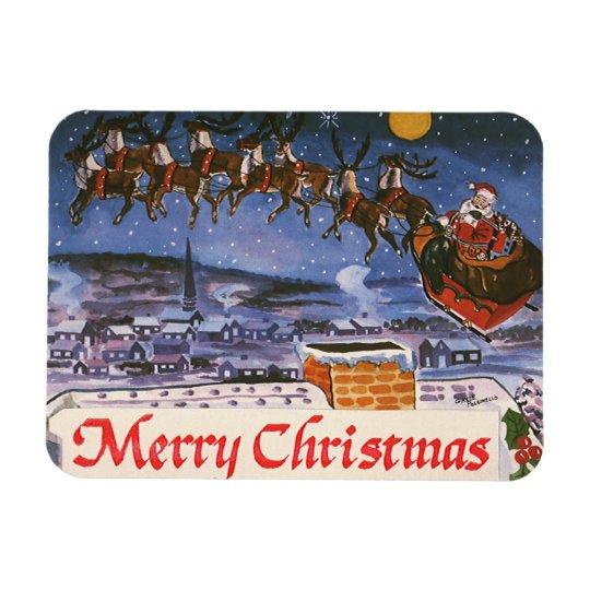 Vintage Christmas Santa Claus Flying His Sleigh Rectangular Photo Magnet
