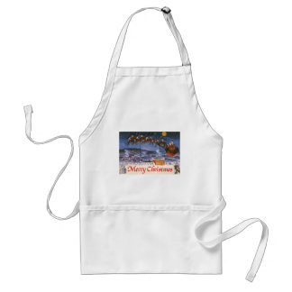 Vintage Christmas Santa Claus Flying His Sleigh Standard Apron