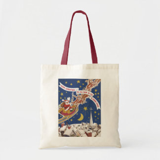 Vintage Christmas, Santa Claus Flying His Sleigh Tote Bags