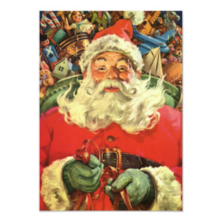 Vintage Christmas, Santa Claus Flying Sleigh Toys Personalized Invites