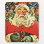 Vintage Christmas, Santa Claus Flying Sleigh Toys Mouse Pads