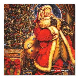 Vintage Christmas Santa Claus happy holiday gift. 13 Cm X 13 Cm Square Invitation Card