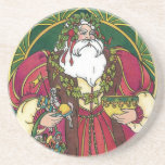 Vintage Christmas, Santa Claus Holly Leaves Beverage Coaster