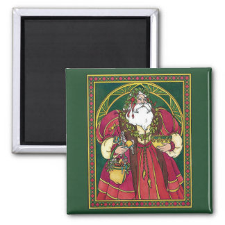 Vintage Christmas, Santa Claus Holly Leaves Square Magnet