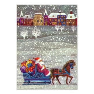 Vintage Christmas, Santa Claus Horse Open Sleigh 13 Cm X 18 Cm Invitation Card
