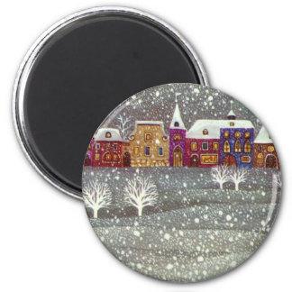 Vintage Christmas, Santa Claus Horse Open Sleigh 6 Cm Round Magnet