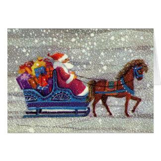 Vintage Christmas, Santa Claus Horse Open Sleigh Cards