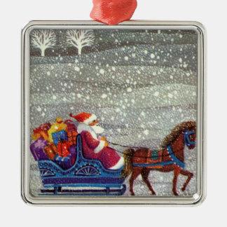 Vintage Christmas, Santa Claus Horse Open Sleigh Christmas Ornament