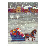 Vintage Christmas, Santa Claus Horse Open Sleigh Invites