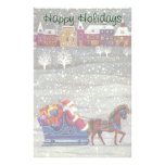 Vintage Christmas, Santa Claus Horse Open Sleigh Stationery Design