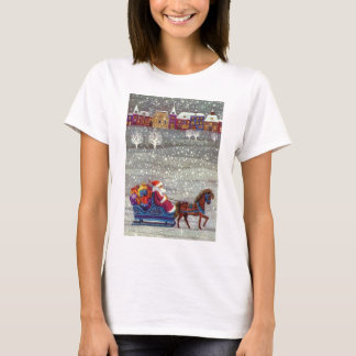 Vintage Christmas, Santa Claus Horse Open Sleigh T-Shirt