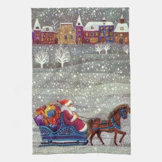 Vintage Christmas, Santa Claus Horse Open Sleigh Tea Towel